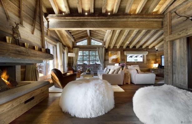 Fur puffs Rustic wood roof truss Chalet Les Gentianes