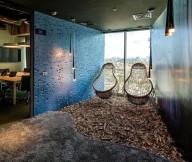 Futuristic bulb chairs Google Tel Aviv office Unusual pendant lamps