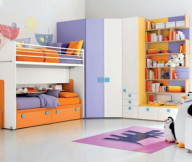 Futuristic bunk beds Colorful racks Colorful kid bedroom Penguin dolls
