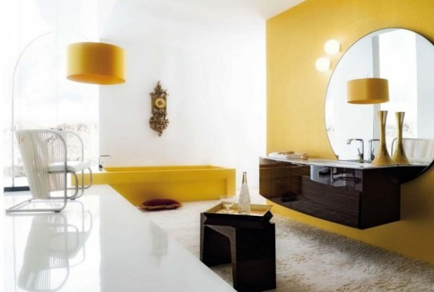 Futuristic chair white yellow accents Modern Bathrooms Design