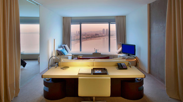 Futuristic desk Hidden lights Glass bay window Contemporary TV setup