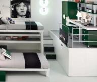 Futuristic desk Man figura painting Contemporary bunk beds Soft wall lights