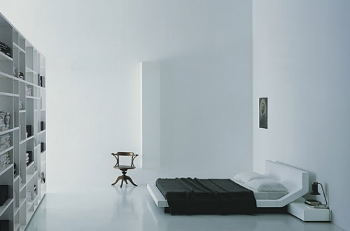 Futuristic-low-profile-Black-quilt-White-beadboard-Box-bookcase