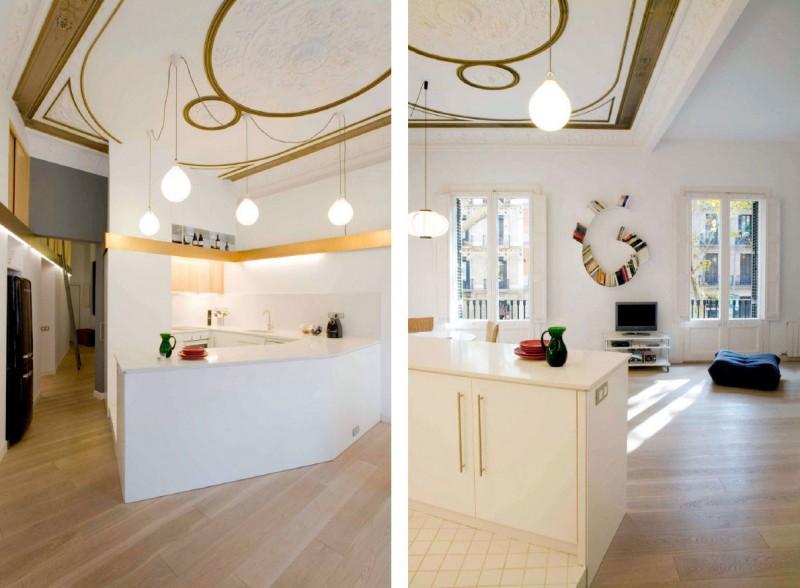 G-Shaped Book Shelf, Elegant Chandeliers White Clean Kitchen TV Cabinet