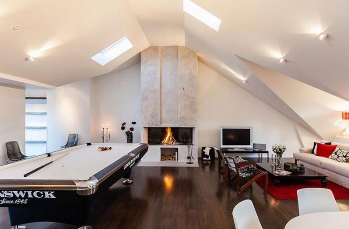 Game Room Black Billiard Table Wooden Floor White Fireplace