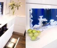 Glass Aquarium Backsplash Square Sink Blue Hue White Counters