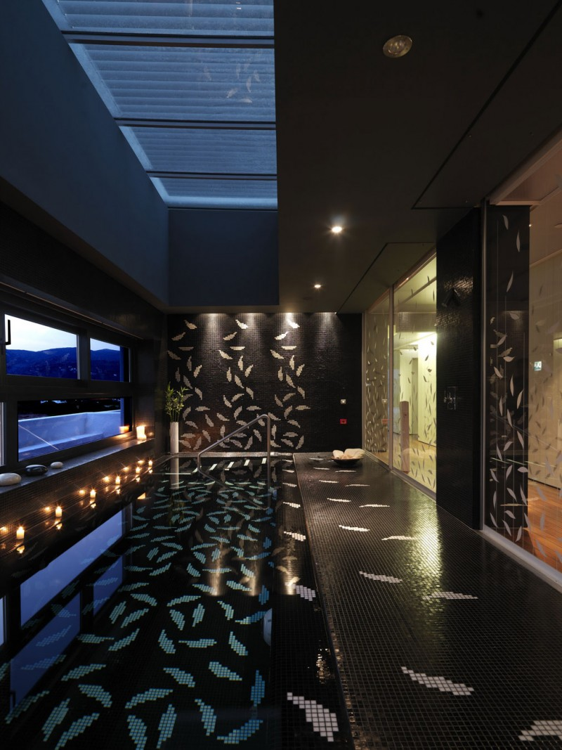 Glass Door Leaf Glass Flooring Ambient Lighting Black Luxurious Space
