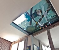 Glass Floor WHite Ceiling Wooden Panes Black Wall