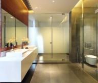 Glass Room Divider Hidden Lamps Wooden Wall Grey Floor