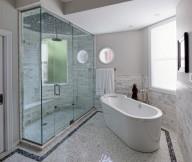 Glass Room Divider Marble Floor White Bath Up Hidden Lamps