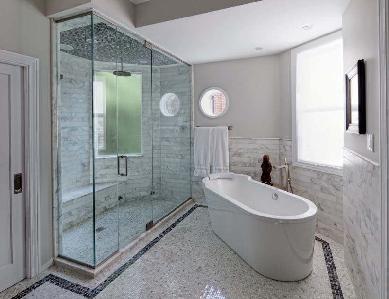 Glass Room Divider Marble Floor White Bath Up Hidden Lamps