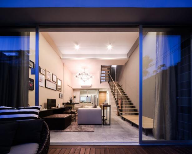 Glass Sliding Door Black Rattan Sofa White Sofa Wooden Staircases