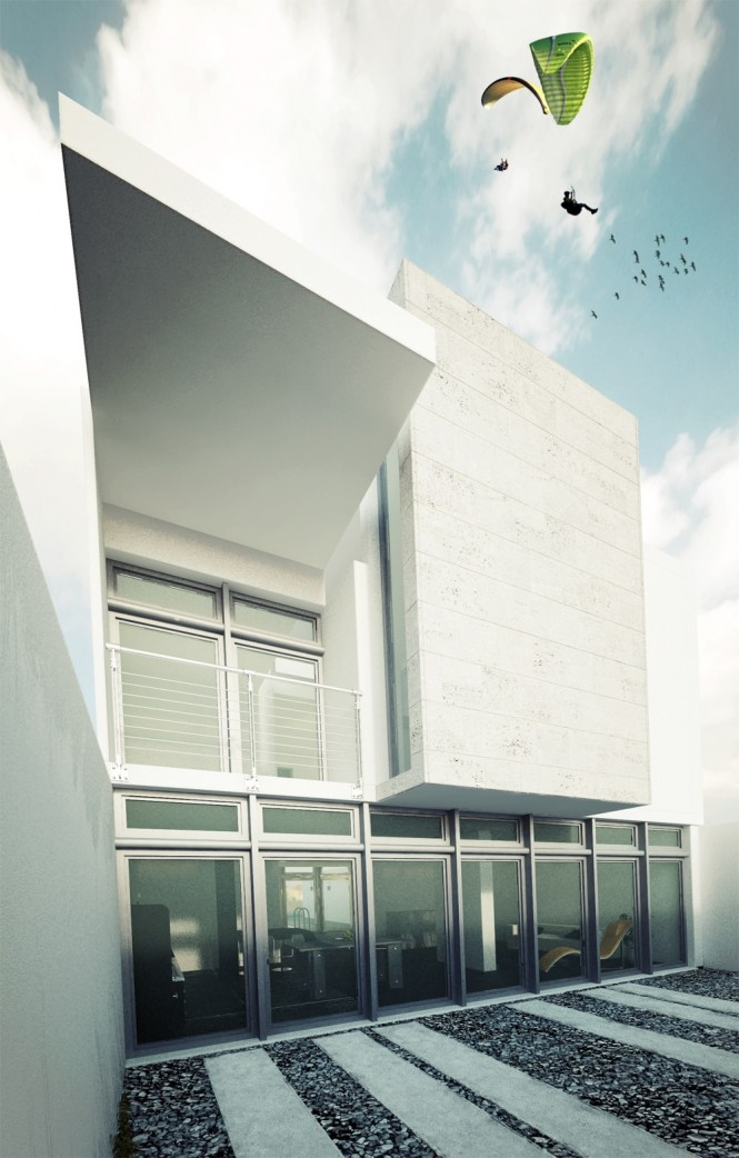 Glass Sliding Doors Black River Stones Cemented Pathway Cream Concrete
