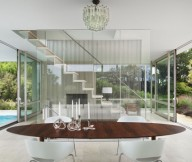 Glass Wall Wooden Table White Chairs Woooden Table