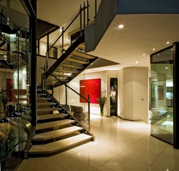 Glass banister Modern stairs Sleek white floor House Cal