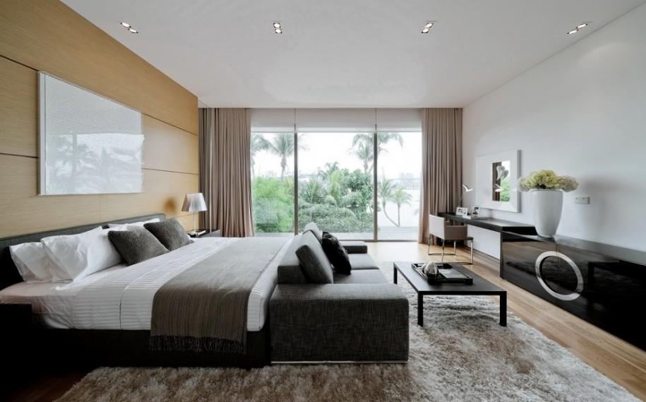 Glass bay window Fur rug Modern bed White vase