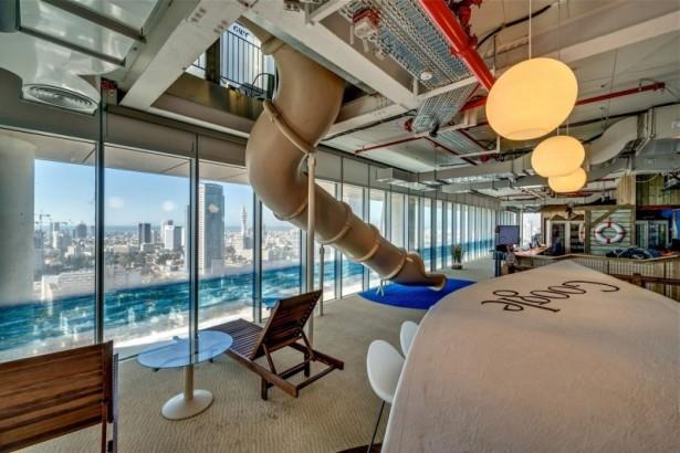 Glass bay window Glass tulip table Google Tel Aviv office
