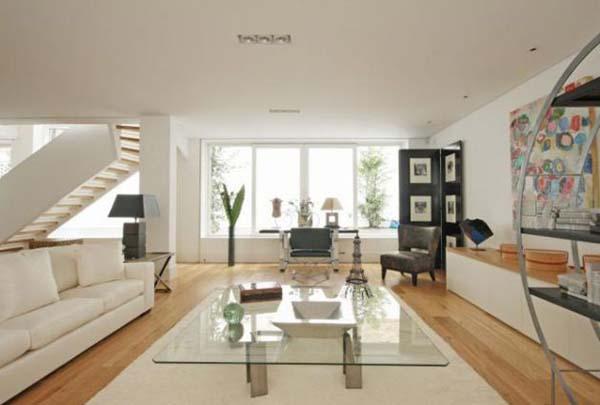 Glass coffee table White sofa Laminate flooring Artistic wall mural
