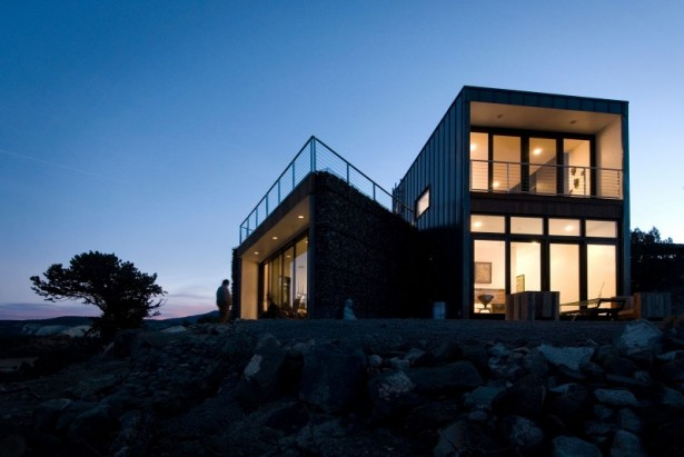 Glass door Ceiling light Buddhist retreat Rocky courtyard