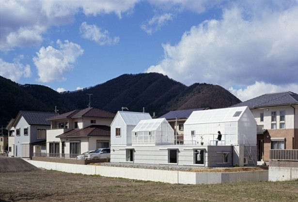 Glass house Wonderful mountain view Transparent roof Metallic railing