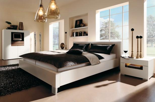 Glass lamp shades Modern low profile bed Black fur rug