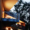 Glass railing Soft lighting Twin houses Modern cantilever