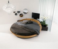 Glass sliding door Leather-Round-Beds Italian Furniture Design Modern Leather Round Beds