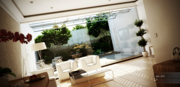 Glass sliding door private Courtyard Design and Landscaping