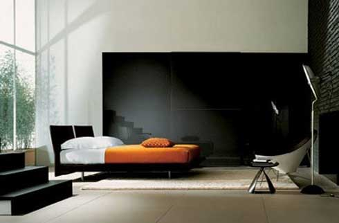 Glossy black beadboard Glass bay window Low profile bed