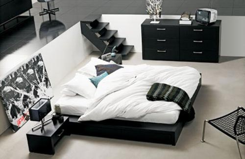 Glossy-dark-Artistic-painting-Elegant-low-profile-bed-Black-bedside-table