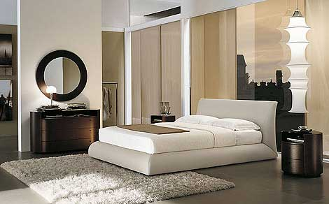 Glossy-dark-dressing-table-Low-profile-bed-White-fur-rug-Fascinating-bed-headboard