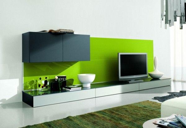 Glossy green TV setup Shiny marble floor White beadboard Green carpet