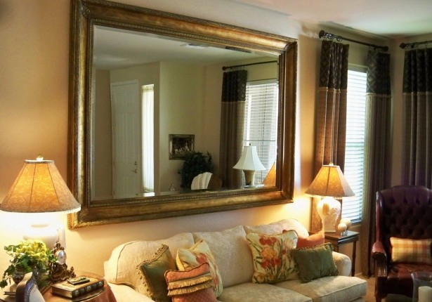 Golden Frame Mirror Cream Wall Classic Sitting Lamps Vintage Cushions