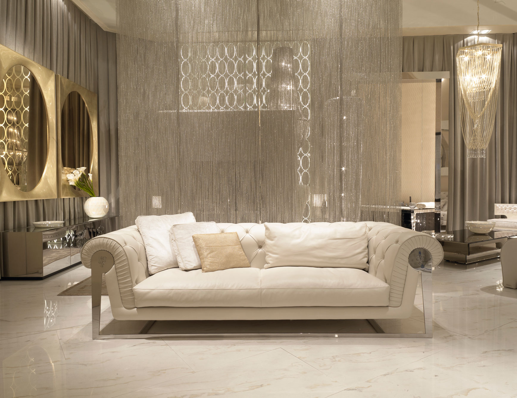 Golden Frame Mirror Luxury Look Ivory Color Sofa Calm Mood