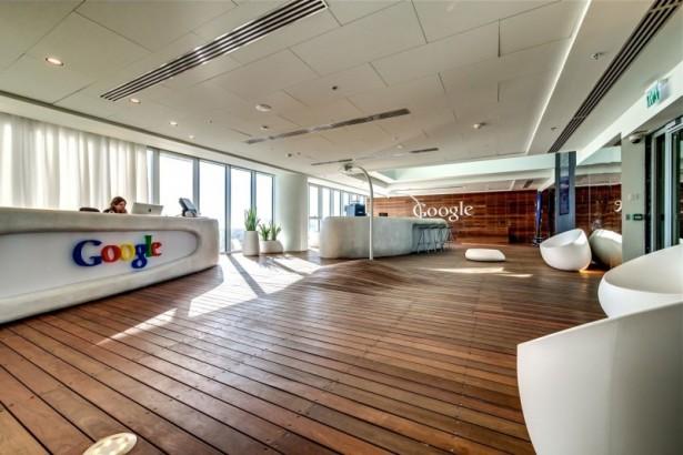 Google Tel Aviv office Wooden floor White ball chairs