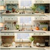 Graphic World Map Backsplash Modern Faucet White Cabinets Indoor Plants