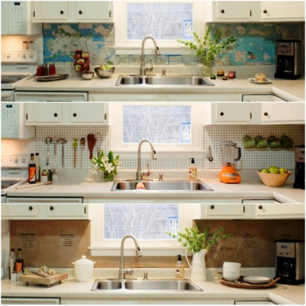 Graphic World Map Backsplash Modern Faucet White Cabinets Indoor Plants