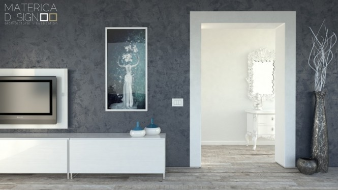 Gray Feature Wall WHite Cabinets White Door Pale Wooden Floor