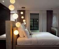 Great-bed-headboard-Inspiring-ball-pendant-lamps-Modern-low-profile-bed-Soft-curtain