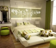 Green Accented White Bedroom Green Color Bedrooms Design