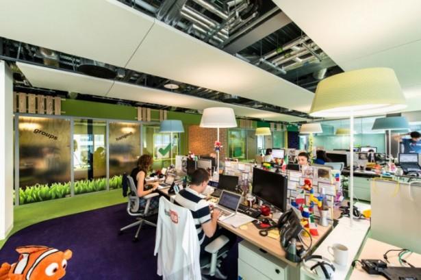 Green Carpet Purple Carpet White Standing Lamp White Ceiling White Wooden Desk
