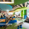 Green Ceiling Blue ceiling Blue Sofas Green Carpet Wide Windows Green Wall
