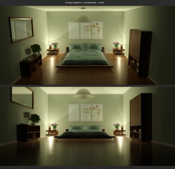 Green Color Bedrooms Floral Warmth wooden floor