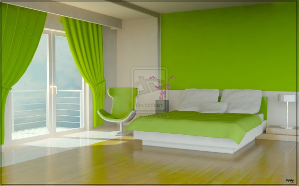 Green Color Bedrooms Green Curtain Green Wall Wooden Floor
