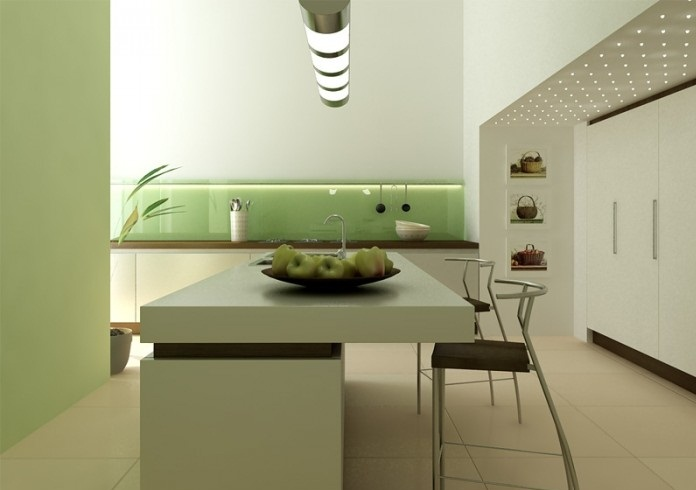 Green glossy backsplash white island brown chairs white Modern green kitchen ideas