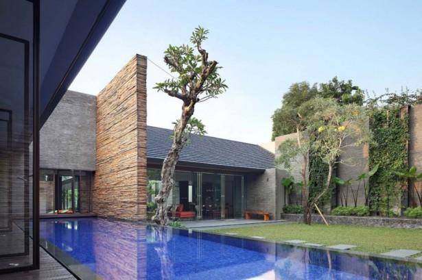 Green Lawn Door Glass Tilt Roof Minimalist Swimming Pool Brick Wall