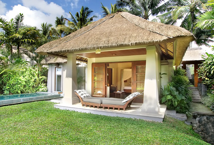 Green Lawn Thatch Roof Small Pond Tropical Plants Coconut Trees