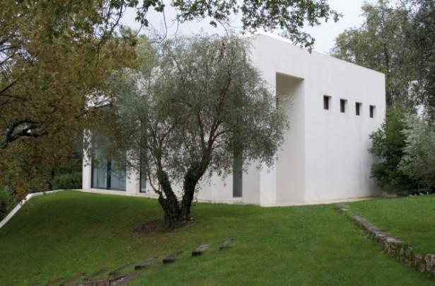 Green Lawn White Wall Flat Roof Minimalist Design