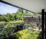 Green Pond Modern Garden Wooden Blinds Frangipani Trees