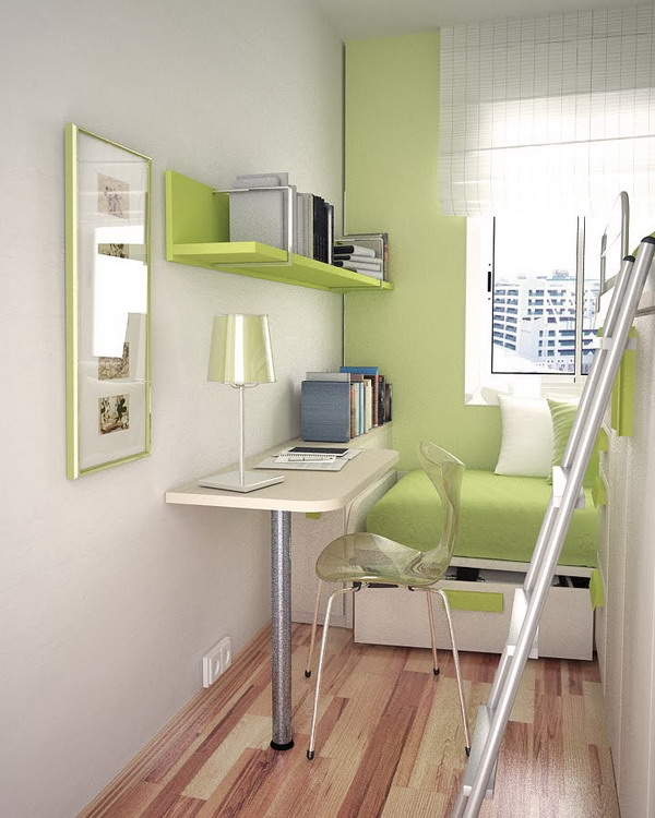 Green Small Bedroom Ideas with Wooden Floor